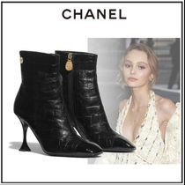 CHANEL Plain Toe Sheepskin Other Animal Patterns Pin Heels