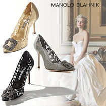 Manolo Blahnik Hangisi Blended Fabrics Plain Pin Heels With Jewels Elegant Style