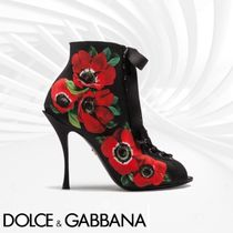 Dolce & Gabbana Flower Patterns Open Toe Sheepskin Pin Heels Elegant Style