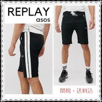 REPLAY Stripes Unisex Sweat Street Style Bi-color Joggers Shorts