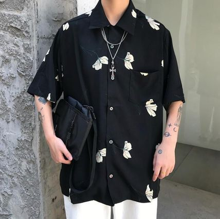 Shirts Flower Patterns Unisex Street Style Short Sleeves Oversized 2