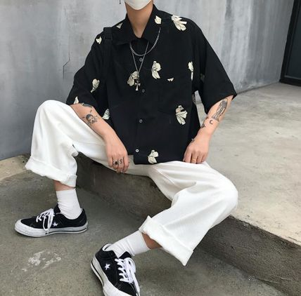 Shirts Flower Patterns Unisex Street Style Short Sleeves Oversized 6