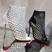 Christian Louboutin Open Toe Plain Other Animal Patterns Leather Pin Heels
