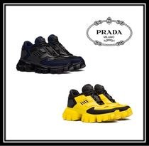 PRADA Casual Style Blended Fabrics Plain Leather Low-Top Sneakers
