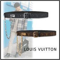 Louis Vuitton 2019-20AW SIGNATURE CHAIN 35MM BELT noirgri marron belt