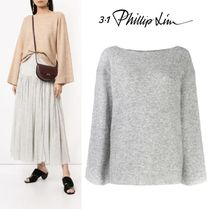 3.1 Phillip Lim Boat Neck Long Sleeves Plain Medium Elegant Style Sweaters
