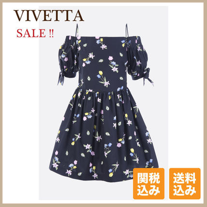 Short Flower Patterns Flared Cotton Party Style Dresses