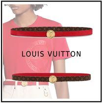 Louis Vuitton 2019-20AW LV CIRCLE PLATE 20MM REVERSIBLE BELT red belt