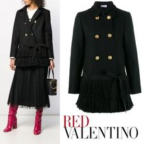 RED VALENTINO Wool Plain Fringes Peacoats