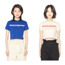 Charm's Crew Neck Short Street Style Plain Cotton Short Sleeves Logo