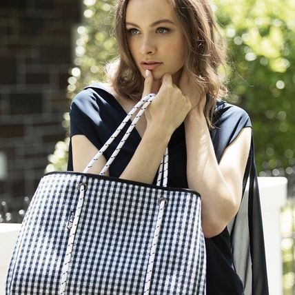 Gingham Casual Style Tassel Bag in Bag A4 Plain Totes