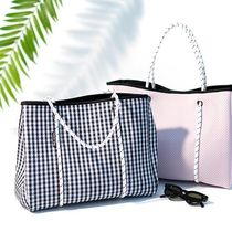 willow bay Gingham Casual Style Tassel Bag in Bag A4 Plain Totes