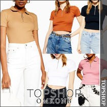 TOPSHOP Casual Style Cotton Medium Short Sleeves Polo Shirts