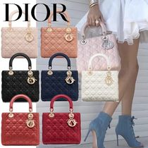 Christian Dior LADY DIOR Lambskin 2WAY Chain Plain Elegant Style Handbags