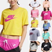Nike Crew Neck Short Street Style Cotton Short Sleeves Cropped