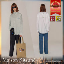 MAISON KITSUNE Stripes Casual Style Unisex Collaboration Long Sleeves Plain