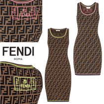FENDI Monogram Sleeveless Medium Elegant Style Dresses