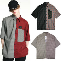 Other Plaid Patterns Unisex Street Style Short Sleeves