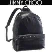 Jimmy Choo Studded A4 Plain Leather Backpacks