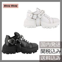 MiuMiu Round Toe Rubber Sole Lace-up Casual Style Studded Leather