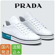 PRADA Lace-up Casual Style Street Style Plain Leather