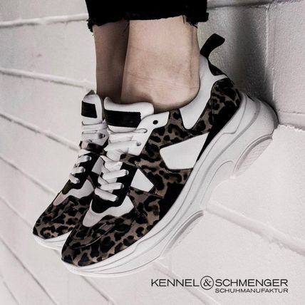Leopard Patterns Casual Style Leather Low-Top Sneakers