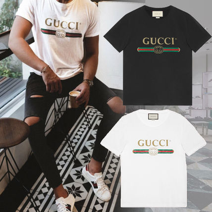 GUCCI Crew Neck Crew Neck Street Style Cotton Short Sleeves 2
