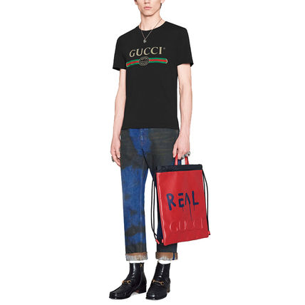 GUCCI Crew Neck Crew Neck Street Style Cotton Short Sleeves 8