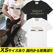GUCCI Gucci Signature Leather Crew Neck Street Style Cotton Short Sleeves