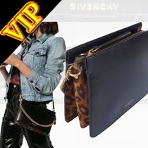 GIVENCHY CROSS3 Chain Plain Leather Elegant Style Shoulder Bags