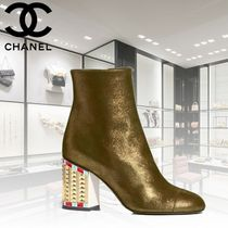 CHANEL Blended Fabrics Leather Block Heels Ankle & Booties Boots