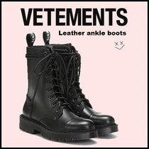 VETEMENTS Lace-up Casual Style Plain Leather Lace-up Boots