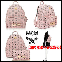 MCM Monogram Unisex Street Style A4 Crystal Clear Bags
