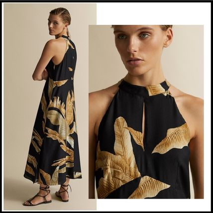 Tropical Patterns A-line Sleeveless Halter Neck Long