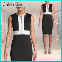 Calvin Klein Tight Sleeveless Bi-color Plain Medium Elegant Style Dresses