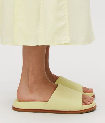 Rubber Sole Casual Style Plain Leather Footbed Sandals