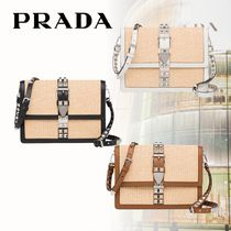 PRADA ELEKTRA Blended Fabrics 2WAY Plain Elegant Style Shoulder Bags