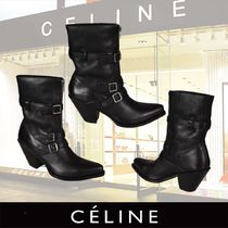 CELINE Plain Toe Plain Leather Block Heels Ankle & Booties Boots