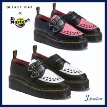 LAZY OAF Heart Round Toe Rubber Sole Casual Style Leather