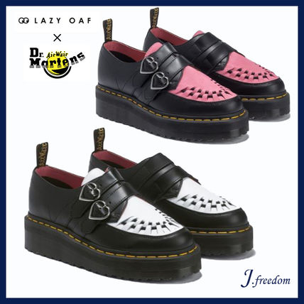 Heart Round Toe Rubber Sole Casual Style Leather