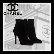 CHANEL Suede Plain Pin Heels Ankle & Booties Boots