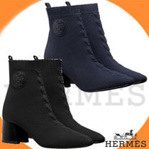 HERMES Plain Toe Plain Chunky Heels Ankle & Booties Boots