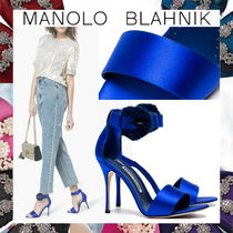 Manolo Blahnik Open Toe Plain Leather Elegant Style Peep Toe Pumps & Mules