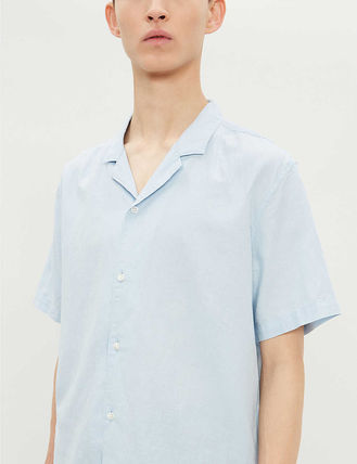 Unisex Street Style Cotton Short Sleeves Shirts