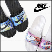 Nike BENASSI Flower Patterns Casual Style Shower Shoes Flat Sandals