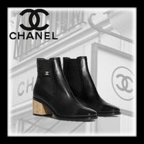 CHANEL Casual Style Blended Fabrics Plain Leather Chelsea Boots