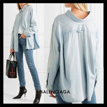 BALENCIAGA Casual Style Blended Fabrics Long Sleeves Plain Cotton