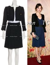 CHANEL TIMELESS CLASSICS CHANEL 11C Black Tweed Cropped Jacket Skirt Suit F38