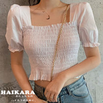 Short Casual Style Puffed Sleeves Plain Cotton Cropped