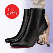 Christian Louboutin Plain Leather Block Heels Ankle & Booties Boots